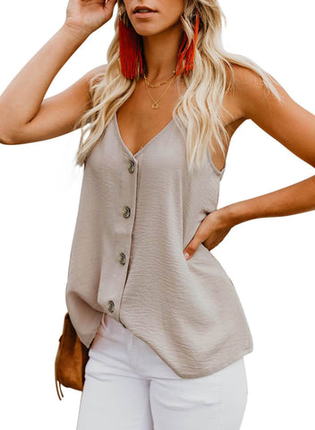 Simple V Neck Tank Top (LC251835-18-3)