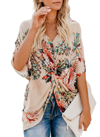 Image of Floral Print Draped Front Knot Top (LC251837-18-1)