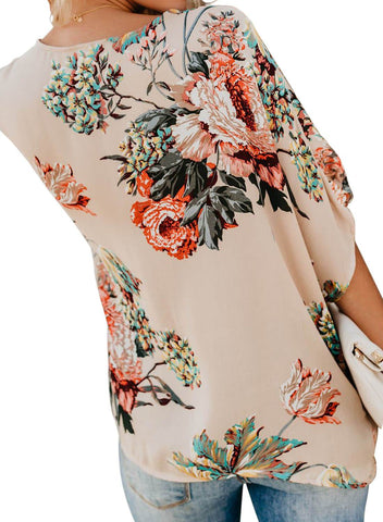 Image of Floral Print Draped Front Knot Top (LC251837-18-2)