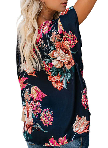 Image of Floral Print Draped Front Knot Top (LC251837-5-2)