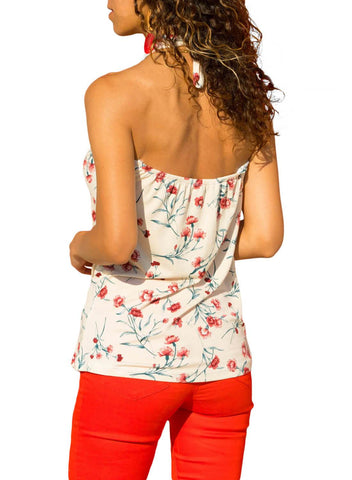 Image of Tropical Print Halter Top (LC251850-1-2)