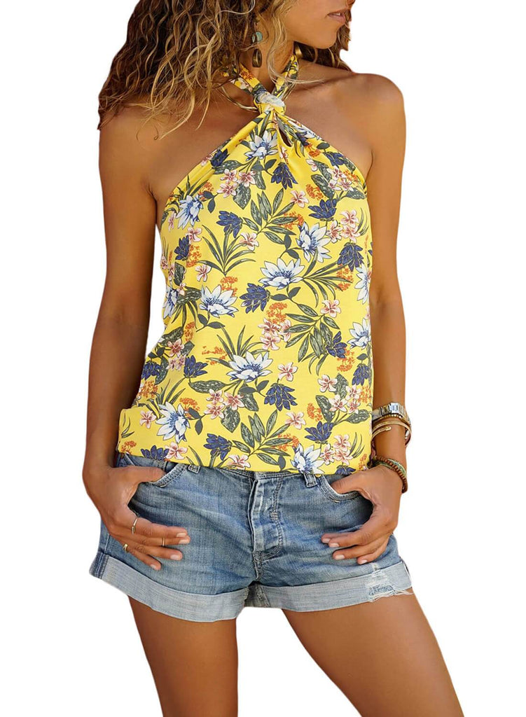 Tropical Print Halter Top (LC251850-7-1)
