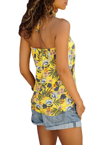 Image of Tropical Print Halter Top (LC251850-7-2)
