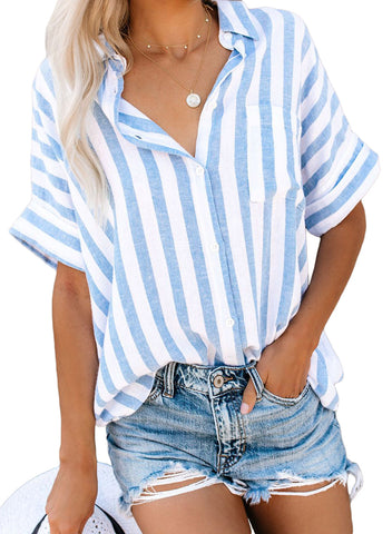 Image of V Neck Stripes Roll up Sleeve Button Down Shirt(LC252012-19-1)