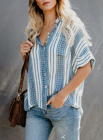 Image of V Neck Stripes Roll up Sleeve Button Down Shirt(LC252012-4-3)