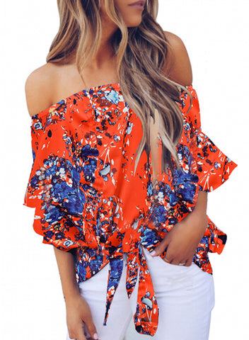 Womens Off Shoulder Floral Tops(LC252111-14-1)