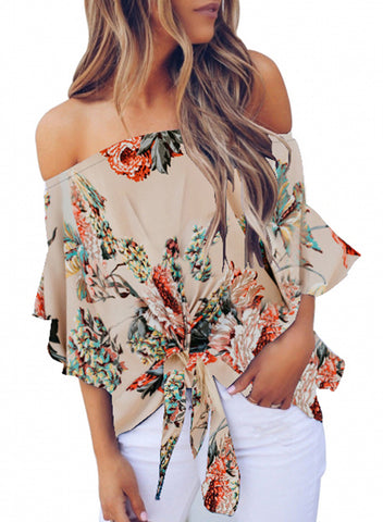 Womens Off Shoulder Floral Tops(LC252111-18-1)