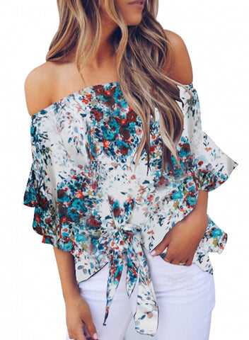 Womens Off Shoulder Floral Tops(LC252111-1-1)