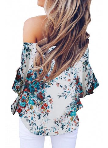Womens Off Shoulder Floral Tops(LC252111-1-2)