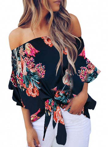 Womens Off Shoulder Floral Tops(LC252111-5-1)