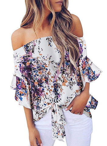 Womens Off Shoulder Floral Tops(LC252111-8-1)
