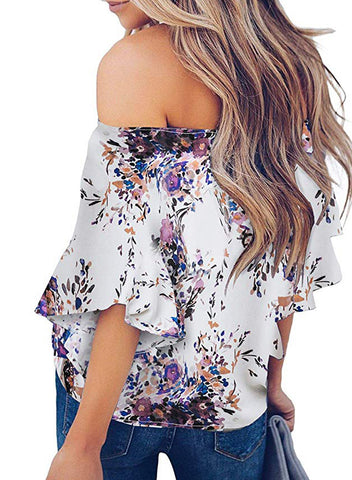 Womens Off Shoulder Floral Tops(LC252111-8-2)