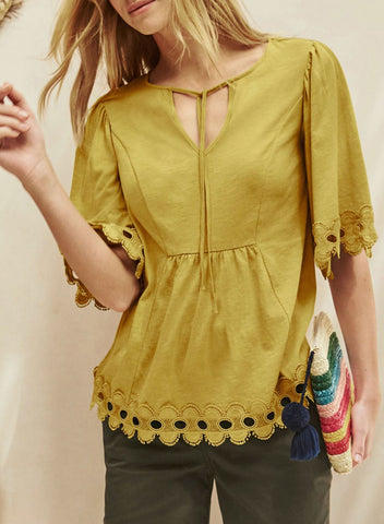 Image of Lace Trim Elbow Sleeve Jersey Tunic Top(LC252129-7-1)