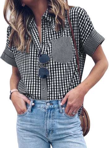 Image of Gingham Play Button Down Shirt(LC252149-2-1)