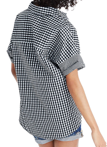 Image of Gingham Play Button Down Shirt(LC252149-2-2)