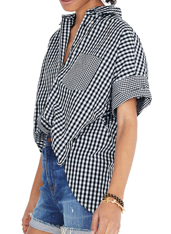 Gingham Play Button Down Shirt(LC252149-2-3)