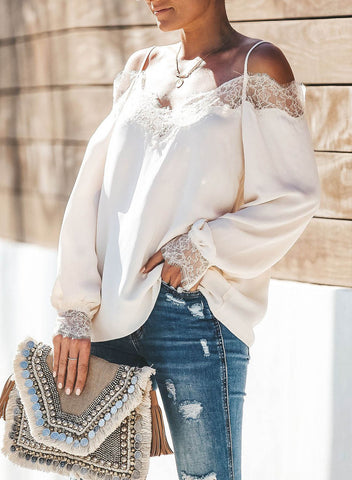 Image of Trixie Lace Cold Shoulder Blouse(LC252164-1-3)