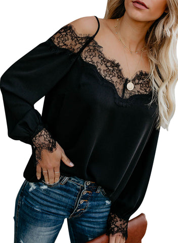 Trixie Lace Cold Shoulder Blouse(LC252164-2-1)