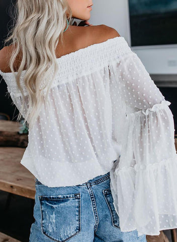Soild Off The Shoulder Top(LC252239-1-2)