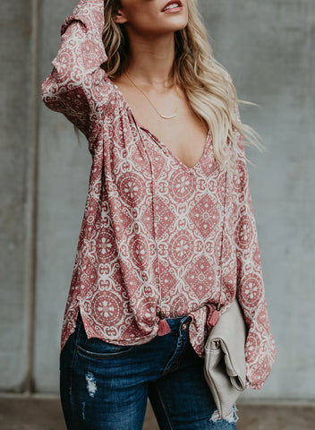 Image of Women's Casual Tops Long Sleeve V Neck Printed Chiffon Blouse Loose Shirts(LC252299-10-2)