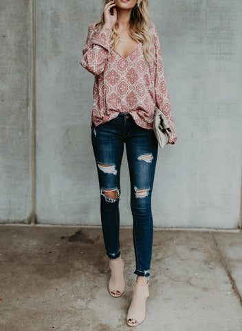 Image of Women's Casual Tops Long Sleeve V Neck Printed Chiffon Blouse Loose Shirts(LC252299-10-3)