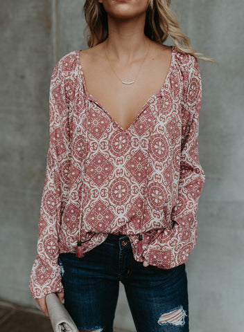 Image of Women's Casual Tops Long Sleeve V Neck Printed Chiffon Blouse Loose Shirts(LC252299-10-1)