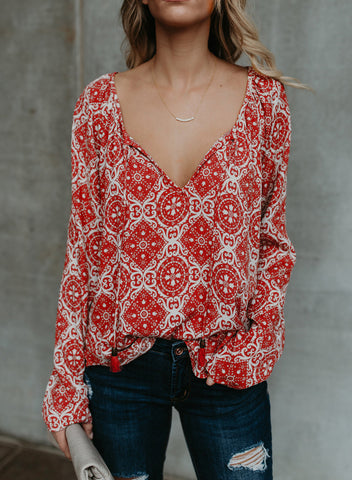 Women's Casual Tops Long Sleeve V Neck Printed Chiffon Blouse Loose Shirts(LC252299-3-1)