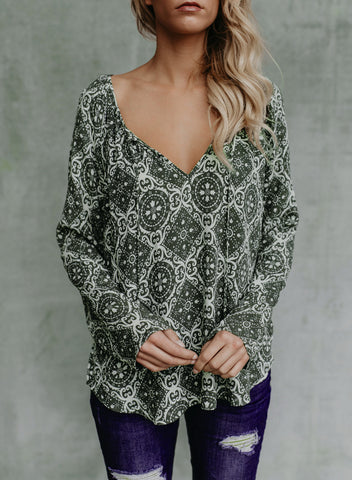 Image of Women's Casual Tops Long Sleeve V Neck Printed Chiffon Blouse Loose Shirts(LC252299-9-1)