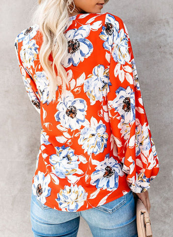Boho Print Balloon Sleeve Blouse(LC252300-14-2)