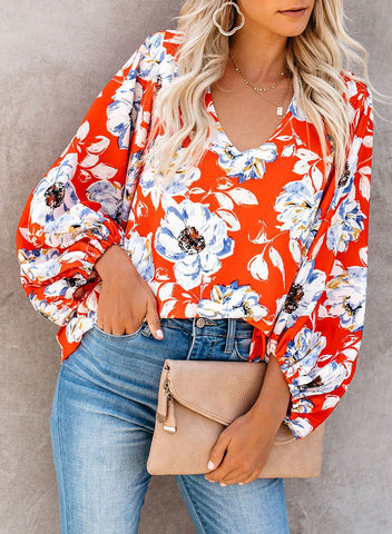 Boho Print Balloon Sleeve Blouse(LC252300-14-3)