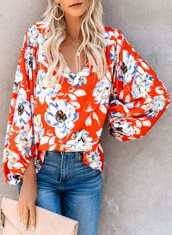 Boho Print Balloon Sleeve Blouse(LC252300-14-1)