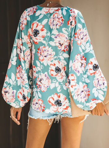 Boho Print Balloon Sleeve Blouse(LC252300-22-2)