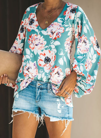 Boho Print Balloon Sleeve Blouse(LC252300-22-3)