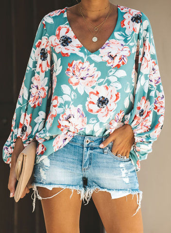 Boho Print Balloon Sleeve Blouse(LC252300-22-1)