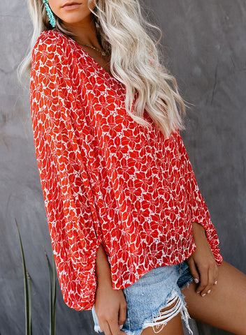 Image of Boho Print Balloon Sleeve Blouse(LC252300-3-4)