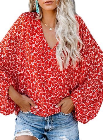 Boho Print Balloon Sleeve Blouse(LC252300-3-3)