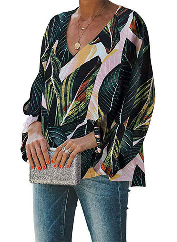 Boho Print Balloon Sleeve Blouse(LC252300-9-3)