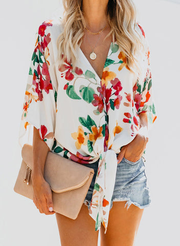 Image of Floral Printed Deep V Neck Tie Front Blouse(LC252336-22-1)