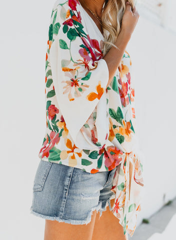 Image of Floral Printed Deep V Neck Tie Front Blouse(LC252336-22-3)