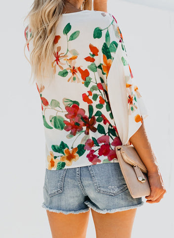Image of Floral Printed Deep V Neck Tie Front Blouse(LC252336-22-2)