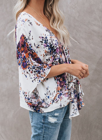 Image of Floral Printed Deep V Neck Tie Front Blouse(LC252336-8-3)
