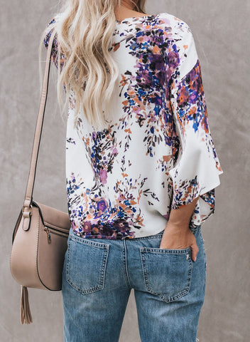 Image of Floral Printed Deep V Neck Tie Front Blouse(LC252336-8-2)