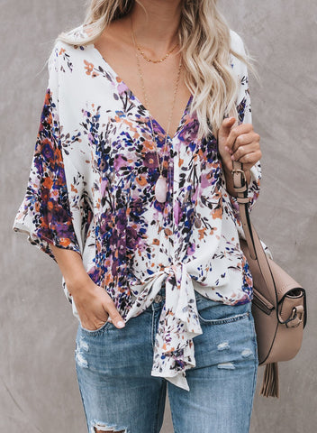 Image of Floral Printed Deep V Neck Tie Front Blouse(LC252336-8-1)
