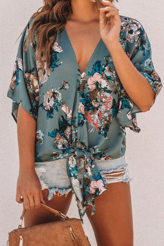 Image of Floral Printed Deep V Neck Tie Front Blouse(LC252336-9-1)
