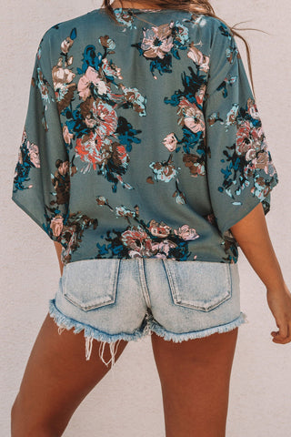 Image of Floral Printed Deep V Neck Tie Front Blouse(LC252336-9-2)