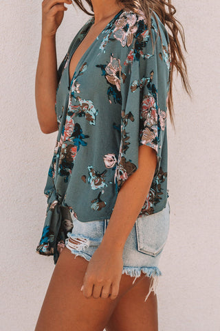 Image of Floral Printed Deep V Neck Tie Front Blouse(LC252336-9-3)