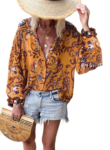 Boho Button Down V Neck Floral Print Shirt(LC252354-14-1)