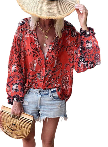 Image of Boho Button Down V Neck Floral Print Shirt(LC252354-3-1)