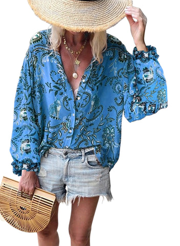 Boho Button Down V Neck Floral Print Shirt(LC252354-5-1)