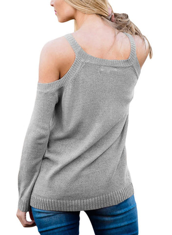 Image of Cold Shoulder Lace up Knit Sweaters